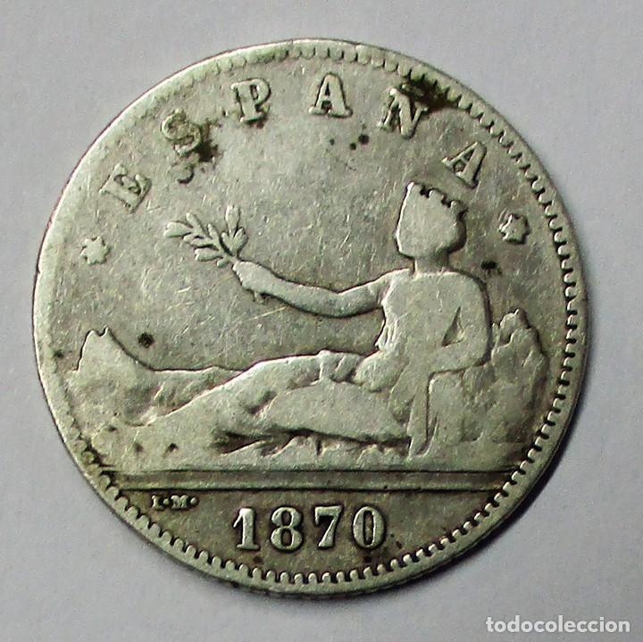 GOBIERNO PROVISIONAL 1 PESETA DE PLATA 1870 * 18 - 70 CECA DE MADRID-S.N.M. LOTE 3808 (Numismática - España Modernas y Contemporáneas - De Isabel II (1.834) a Alfonso XIII (1.931))