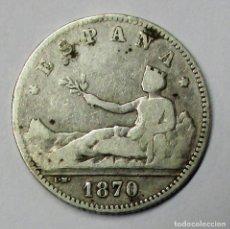 Monedas de España: GOBIERNO PROVISIONAL 1 PESETA DE PLATA 1870 * 18 - 70 CECA DE MADRID-S.N.M. LOTE 3808. Lote 262421940