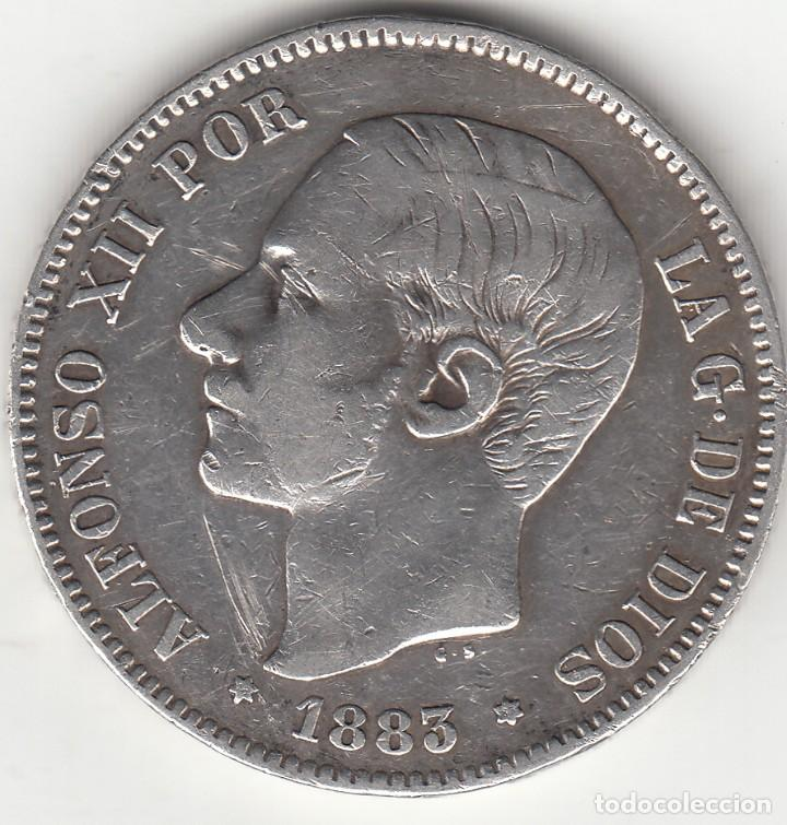 ALFONSO XII: 5 PESETAS 1883 MSM ESTRELLAS 18 - 83 ( PLATA ) (Numismática - España Modernas y Contemporáneas - De Isabel II (1.834) a Alfonso XIII (1.931))