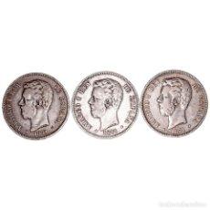 Monedas de España: 5 PESETAS. AR. LOTE DE 3 MONEDAS. 1871 *71 (2) Y *74. MBC+. Lote 262650260