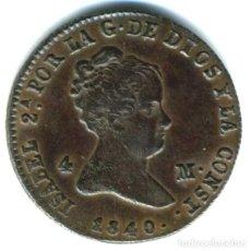 Monedas de España: XS- ISABEL II 4 MARAVEDÍS 1840 SEGOVIA. Lote 262651150