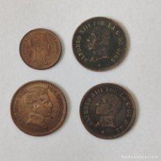 Monedas de España: 4 MONEDAS DE ALFONSO XIII DE 1 Y 2 CENTIMOS. EXCELENTE CONSERVACION. ORIGINALES.. Lote 262910035
