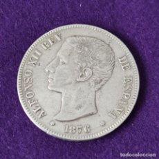 Monedas de España: MONEDA DE 5 PESETAS PLATA DE ALFONSO XII. AÑO 1876. *18-76. DEM. OREJA RAYADA. ORIGINAL. PLATA 900.. Lote 263335870