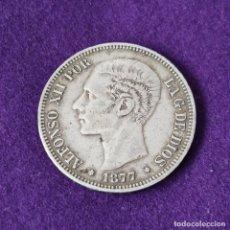 Monete da Spagna: MONEDA DE 5 PESETAS PLATA DE ALFONSO XII. AÑO 1877. *18-77. DEM. ORIGINAL. PLATA 900.. Lote 263344420