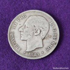 Monete da Spagna: MONEDA DE 5 PESETAS PLATA DE ALFONSO XII. AÑO 1884. *18-84. MSM. ORIGINAL. PLATA 900.. Lote 263553560