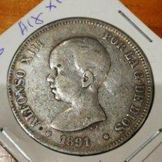 Monedas de España: 5 PESETAS DE PLATA ESPAÑA ALFONSO XIII AÑO 1891. Lote 263555865