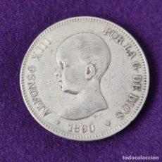 Monete da Spagna: MONEDA DE 5 PESETAS PLATA DE ALFONSO XIII. AÑO 1890. *18-90. MPM. ORIGINAL. PLATA 900.. Lote 263556630