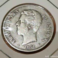 Monedas de España: 5 PESETAS DE PLATA ESPAÑA AMADEO I AÑO 1871 ESTRELLAS VISIBLES *18 *74. Lote 263557805
