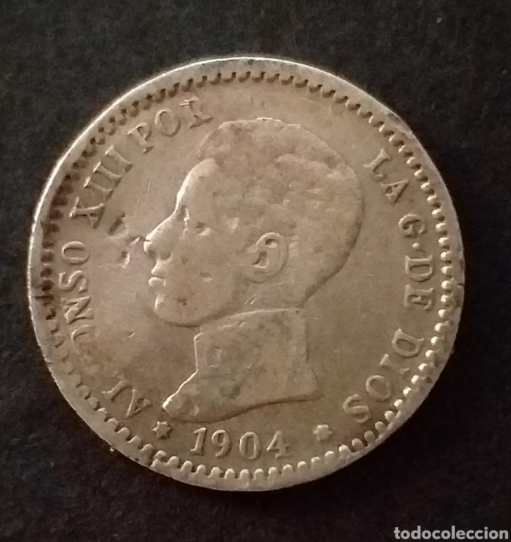 MONEDA DE PLATA 50 CENTIMOS ESPAÑA AÑO 1904 (Numismática - España Modernas y Contemporáneas - De Isabel II (1.834) a Alfonso XIII (1.931))