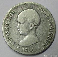 Monedas de España: ALFONSO XIII, 1889. 2 PESETAS DE PLATA 1889. M.P.M. MUY ESCASA. LOTE 3821. Lote 265108304