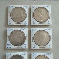 Monedas de España: LOTE 6 MONEDAS PLATA 5 PESETAS ESPAÑA. Lote 265508094
