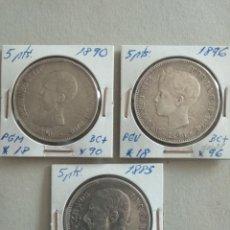 Monedas de España: LOTE DE 3 MONEDAS 5 PESETAS PLATA ESPAÑA. Lote 265511299