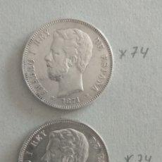 Monedas de España: LOTE 2 MONEDAS PLATA 5 PESETAS AMADEO I 1871. Lote 265513489