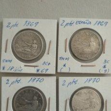 Monedas de España: LOTE 4 MONEDAS PLATA ESPAÑA 2 PESETAS. Lote 265515374