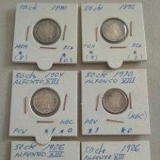 Monedas de España: LOTE DE 6 MONEDAS PLATA ESPAÑA 50 CENTIMOS. Lote 265524034