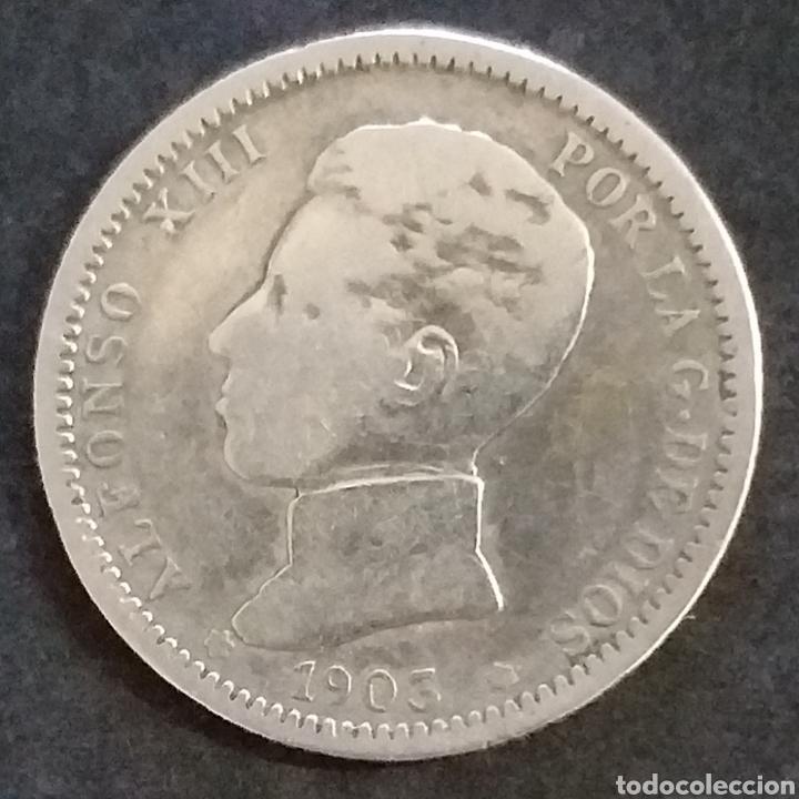 MONEDA PLATA 1 PESETA ESPAÑA 1903 (Numismática - España Modernas y Contemporáneas - De Isabel II (1.834) a Alfonso XIII (1.931))