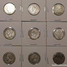 Monedas de España: LOTE 9 MONEDAS DE UNA PESETA DE PLATA VARIAS FECHAS 1870-1904 BELLA PATINA !!. Lote 267570334