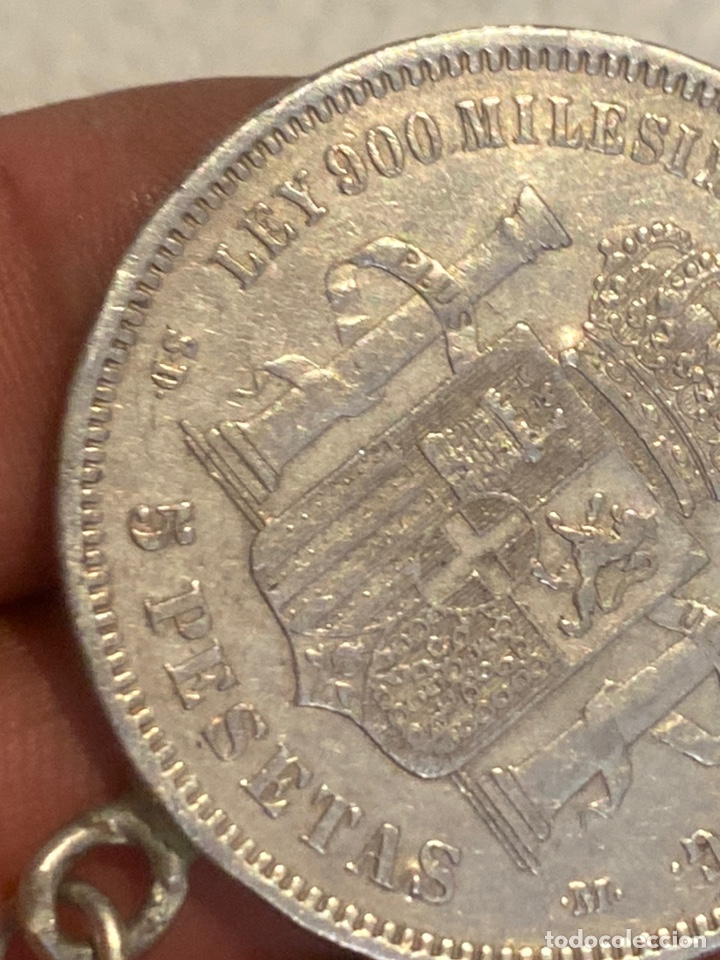 Monedas de España: Moneda colgante de plata, 5 pesetas 1871 Amadeo 1 . Tamaño grande. Ver fotos - Foto 3 - 269012669