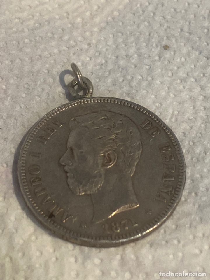 MONEDA COLGANTE DE PLATA, 5 PESETAS 1871 AMADEO 1 . TAMAÑO GRANDE. VER FOTOS (Numismática - España Modernas y Contemporáneas - De Isabel II (1.834) a Alfonso XIII (1.931))