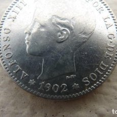 Moedas de Espanha: ALFONSO XIII 1 PESETA 1902 (19-02*) SM V .ESTRELLAS PERFECTAS.UN BUEN M.B.C+. Lote 211824755