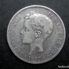 Monedas de España: 5 PESETAS DE PLATA AÑO 1897 SGV ESTRELLAS *18 *97. VISIBLES. DURO DE PLATA. Lote 269650603