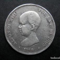 Monedas de España: 5 PESETAS DE PLATA AÑO 1889 MPM ESTRELLAS *. *89. LA SEGUNDA VISIBLE. DURO DE PLATA. Lote 269651693