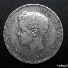 Monedas de España: 5 PESETAS DE PLATA AÑO 1897 SGV ESTRELLAS *18. *97. LAS DOS ESTRELLAS VISIBLES. DURO DE PLATA. Lote 269652588