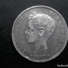Monedas de España: 5 PESETAS DE PLATA AÑO 1897 SGV ESTRELLAS *18 *97 LAS DOS VISIBLES. DURO DE PLATA. Lote 269653548