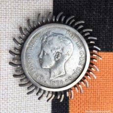 Monedas de España: MONEDA 5 PESETAS ALFONSO XIII 1896 ESTRELLA 18 96 MONTADA EN BROCHE PLATA. Lote 270128063
