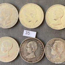 Monedas de España: 6 MONEDAS DE 5 PESETAS DE PLATA , ALFONSO XIII Y AMADEO I , 1898 , 1890 , 1889 , 1888, 1871. Lote 270375063