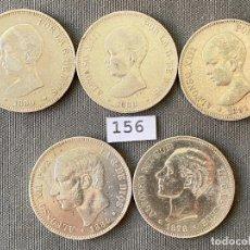 Monedas de España: 5 MONEDAS DE 5 PESETAS DE PLATA , ALFONSO XII Y ALFONSO XIII , 1884 , 1878 , 1891 , 1888, 1890. Lote 270376008