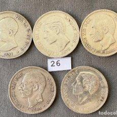 Monete da Spagna: 5 MONEDAS DE 5 PESETAS DE PLATA , ALFONSO XII Y ALFONSO XIII , 1884 , 1885 , 1878 , 1875 , 1891. Lote 270376733