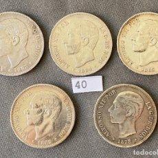 Monedas de España: 5 MONEDAS DE 5 PESETAS DE PLATA , ALFONSO XII , 1882 , 1883 , 1884 , 1885 ,1878. Lote 270377478