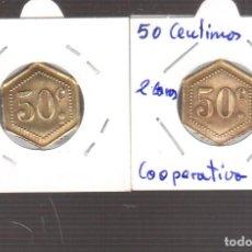 Monedas de España: MONEDA DE LA REPUBLICA COOPERATIVA 0,50 CENTIMOS LAS DOS CARAS IGUALES. Lote 270894988