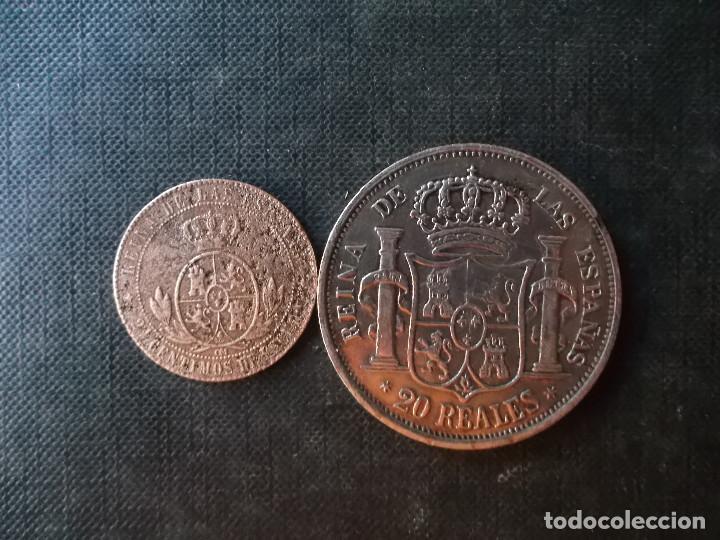 Monedas de España: moneda de 2,50 centimos Isabel II 1868 + 20 reales 1860 replica - Foto 2 - 274123098