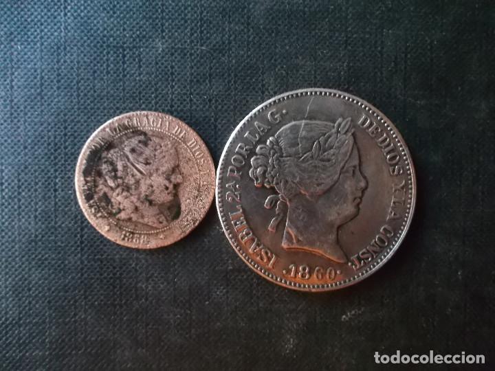 Monedas de España: moneda de 2,50 centimos Isabel II 1868 + 20 reales 1860 replica - Foto 3 - 274123098