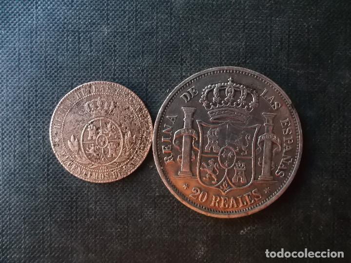 Monedas de España: moneda de 2,50 centimos Isabel II 1868 + 20 reales 1860 replica - Foto 4 - 274123098