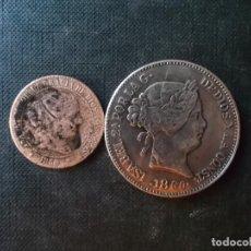 Monedas de España: MONEDA DE 2,50 CENTIMOS ISABEL II 1868 + 20 REALES 1860 REPLICA. Lote 274123098