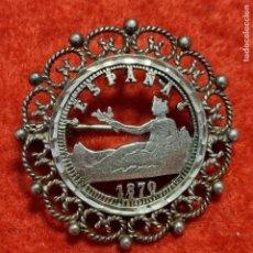 Monete da Spagna: MONEDA PLATA 1 PESETA 1870 TORQUELADA PARA BROCHE DE PLATA ORIGINAL C7. Lote 275506953