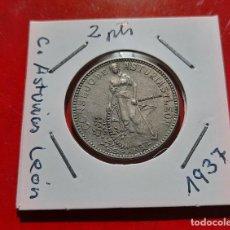 Monete da Spagna: 2 PESETAS C.ASTURIAS Y LEON 1937 PLATA. Lote 275917338