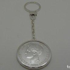 Monedas de España: LLAVERO CON MONEDA DE 5 PESETAS ALFONSO XIII (1896) EN PLATA DE LEY (925MM). Lote 276490558