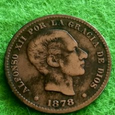 Monedas de España: CINCO CENTÍMOS DE 1878. DE ALFONSO XII. EN COBRE BIEN CONSERVADA. Lote 276636933