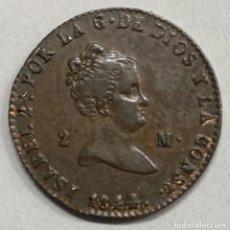 Monedas de España: ESPAÑA, ISABEL II, MONEDA DE 2 MARAVEDÍES, AÑO 1844. Lote 276804148