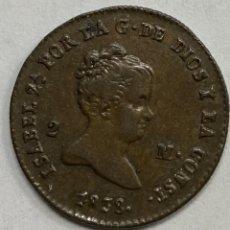 Monedas de España: ESPAÑA, ISABEL II, MONEDA DE 2 MARAVEDÍES, AÑO 1838. Lote 276807018