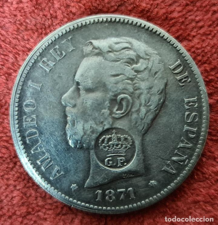 MONEDA DE PLATA. AMADEO I. 5 PESETAS. RESELLO PORTUGUES GP. FALSA. 1871. (Numismática - España Modernas y Contemporáneas - De Isabel II (1.834) a Alfonso XIII (1.931))