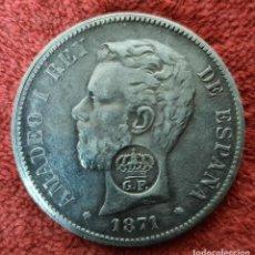 Monedas de España: MONEDA DE PLATA. AMADEO I. 5 PESETAS. RESELLO PORTUGUES GP. FALSA. 1871.. Lote 277568048