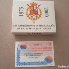 Monedas de España: JUAN CARLOS I. 2000 PESETAS 2000 XXV ANIVERSARIO. SIN CIRCULAR, PROFF. CERTIFICADO Y CAJA. (M67). Lote 277629843