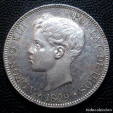 Moedas de Espanha: 5 PESETAS 1899 *18*-*99* SGV EBC - ALFONSO XIII (3 FOTOS) -PLATA- REF.248. Lote 277745753