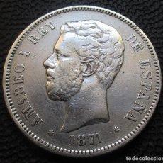 Monedas de España: 5 PESETAS 1871 *18*-*71* SDM - AMADEO I (3 FOTOS) -PLATA- REF.212. Lote 278232603