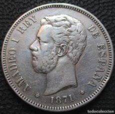 Monedas de España: 5 PESETAS 1871 *18*-*7-* SDM - AMADEO I (3 FOTOS) -PLATA- REF.211. Lote 278232883